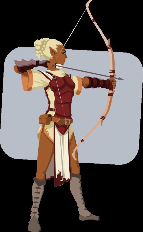 Clipart woman archery. Elven archer medium image
