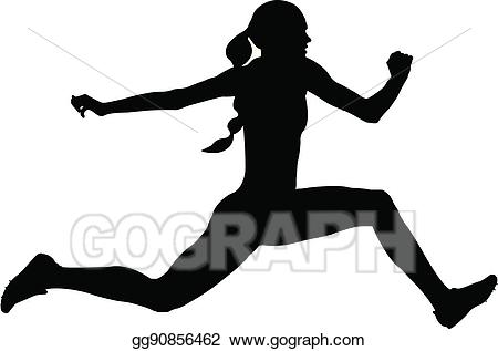 Vector woman athlete triple. Jumping clipart athletic person
