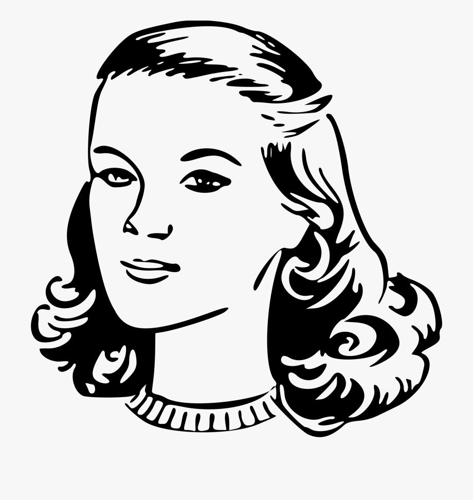 Lady clipart line art. Freeuse woman s head