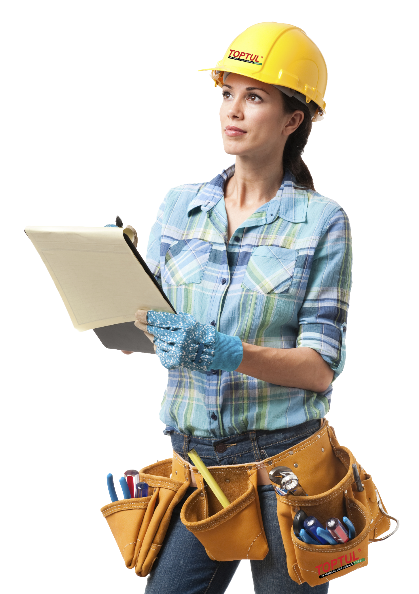 Industrail worker female png. Engineering clipart builder
