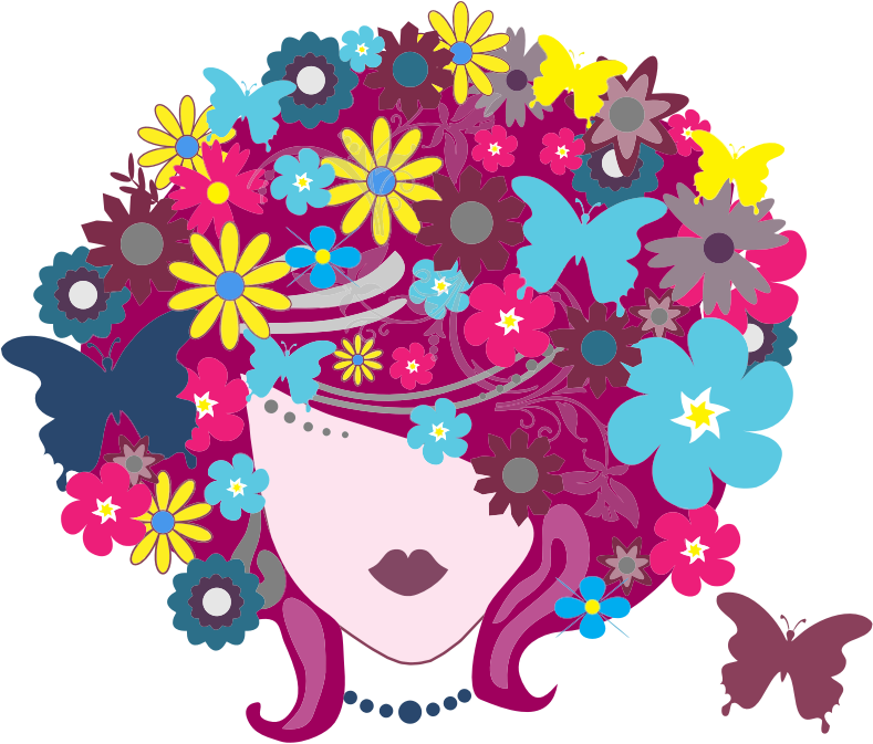 Female clipart graphic designer. Floral butterfly hair woman