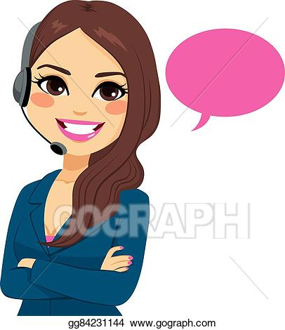 Eps illustration phone operator. Receptionist clipart call center girl
