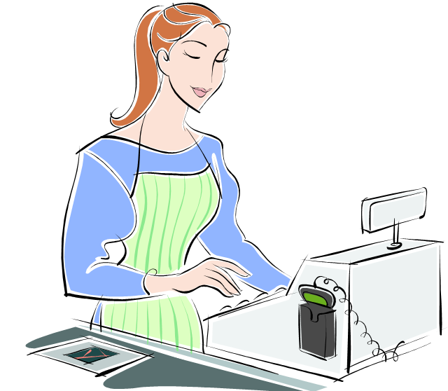 Clipart woman cashier. Cash registers the view