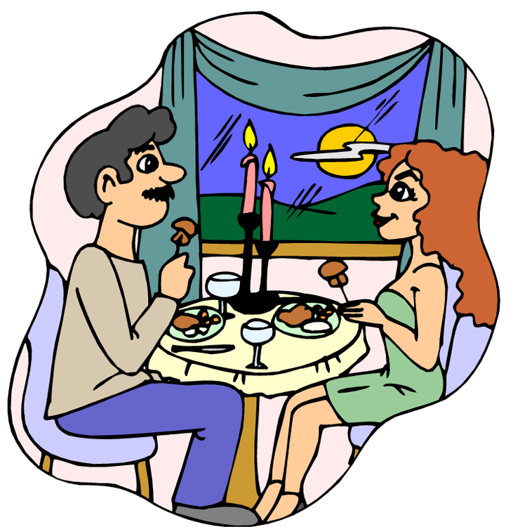Eating dinner out . Hungry clipart evening meal