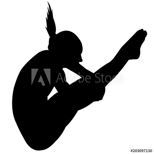 Woman diving silhouette girl. Diver clipart female