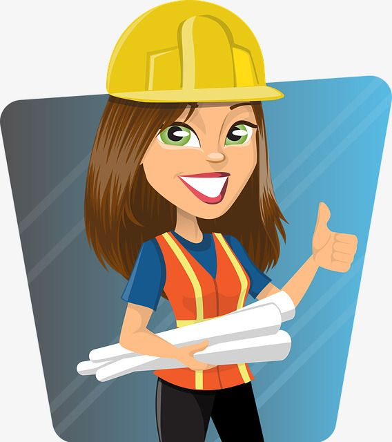 Lady clipart engineer. Cute female construction pinup