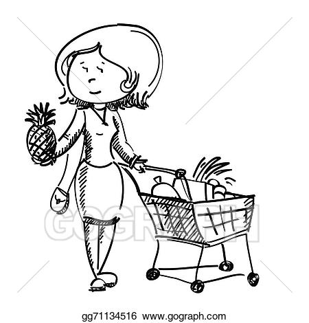 Vector in shop chooses. Fruit clipart woman