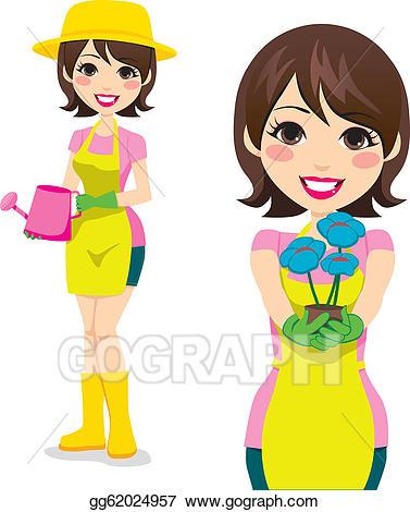 Eps illustration gardening woman. Gardener clipart lady gardener
