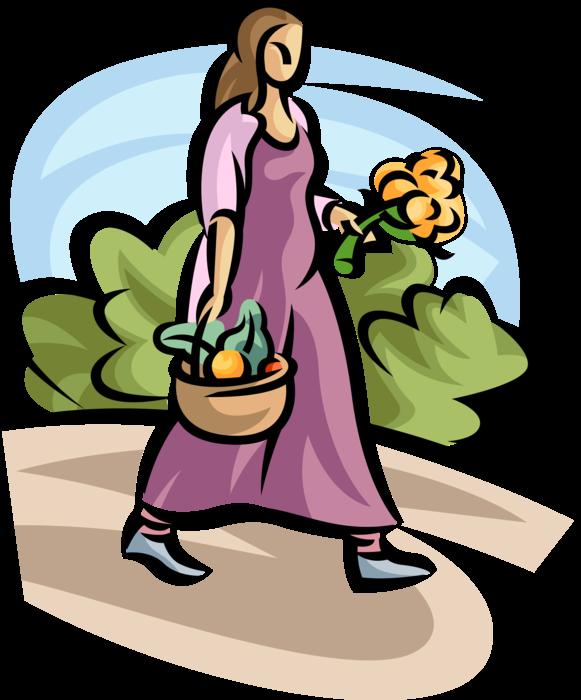Gardener clipart garden basket. With of fruit and