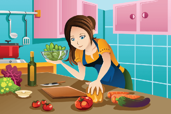 Cooking clipart healthy cooking. Woman food in the