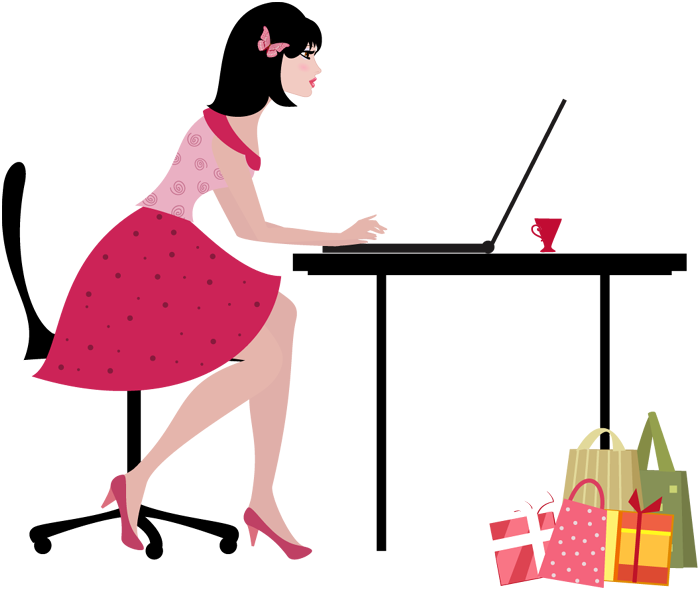 Young clipart cartoon. Woman with laptop computer