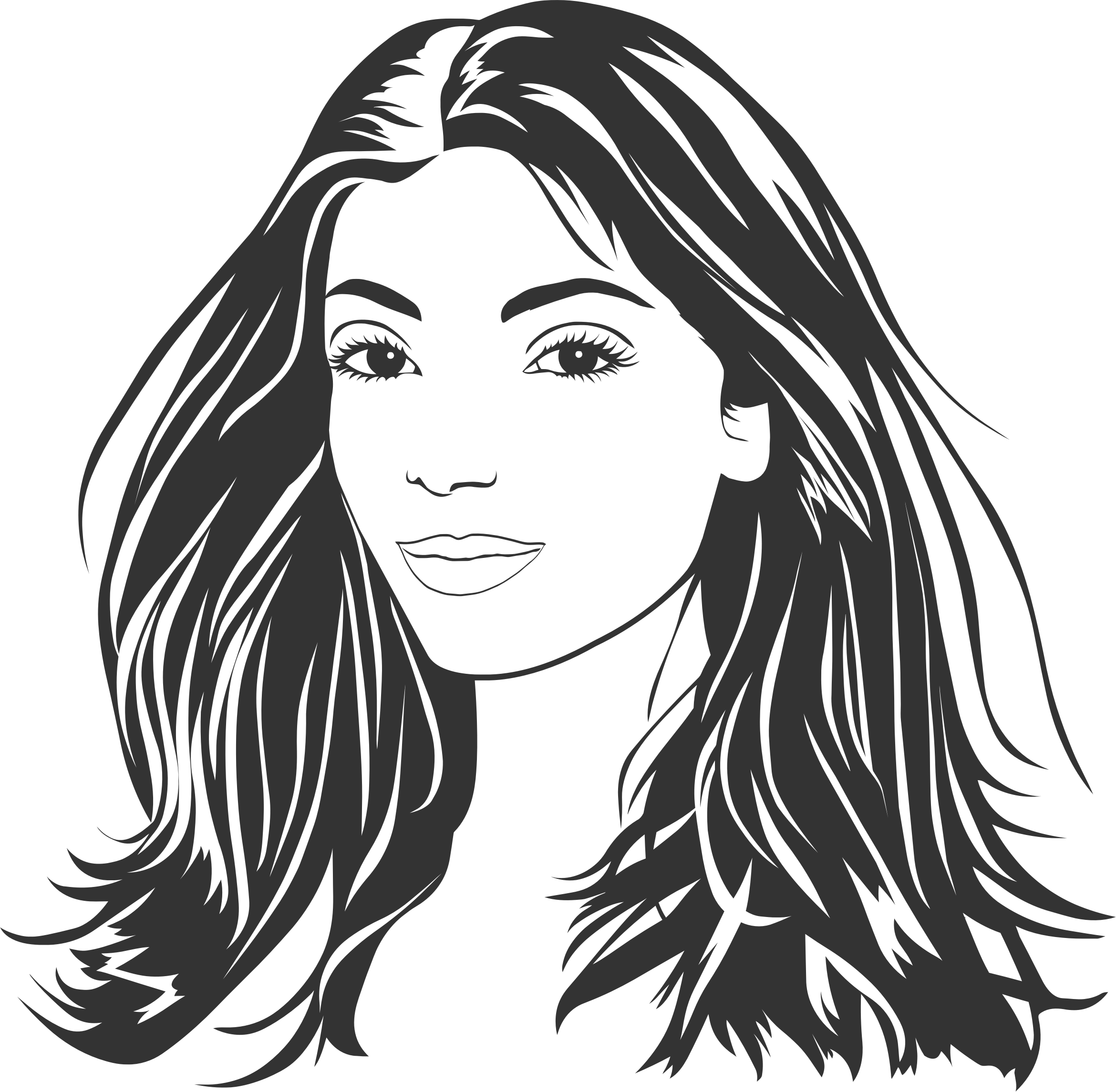 Woman with long hair. Worm clipart dirt clipart