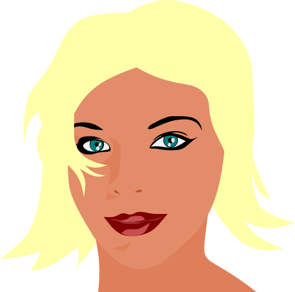 Girls clipart blonde hair. Girl with green eyes