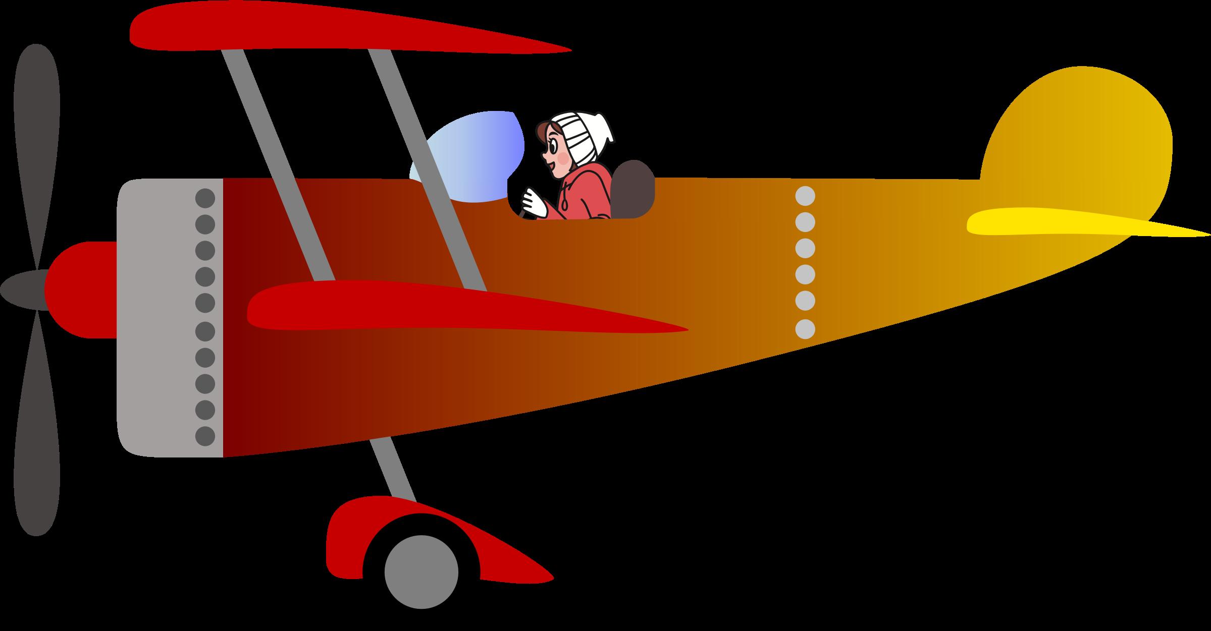 Pilot clipart girl pilot. Biplane with a woman