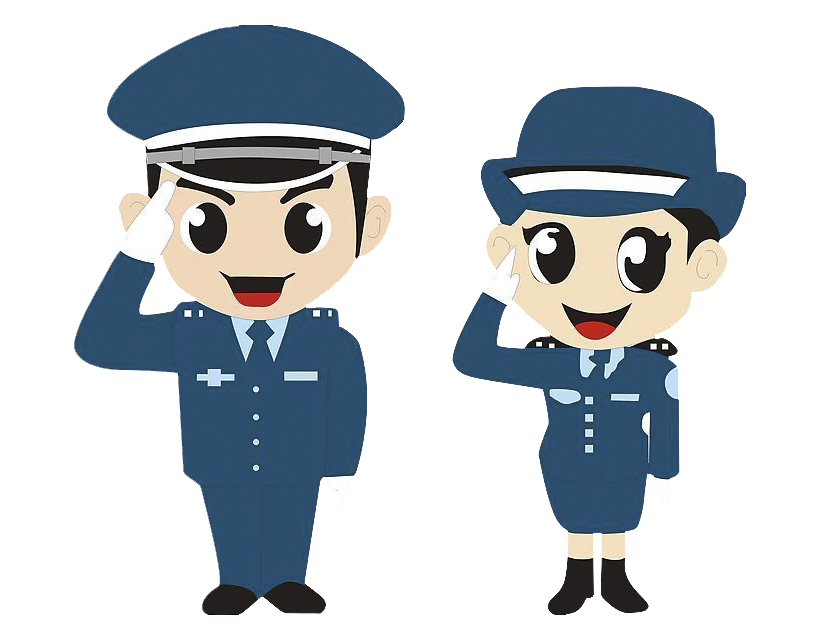 China officer cartoon male. Clipart woman police man