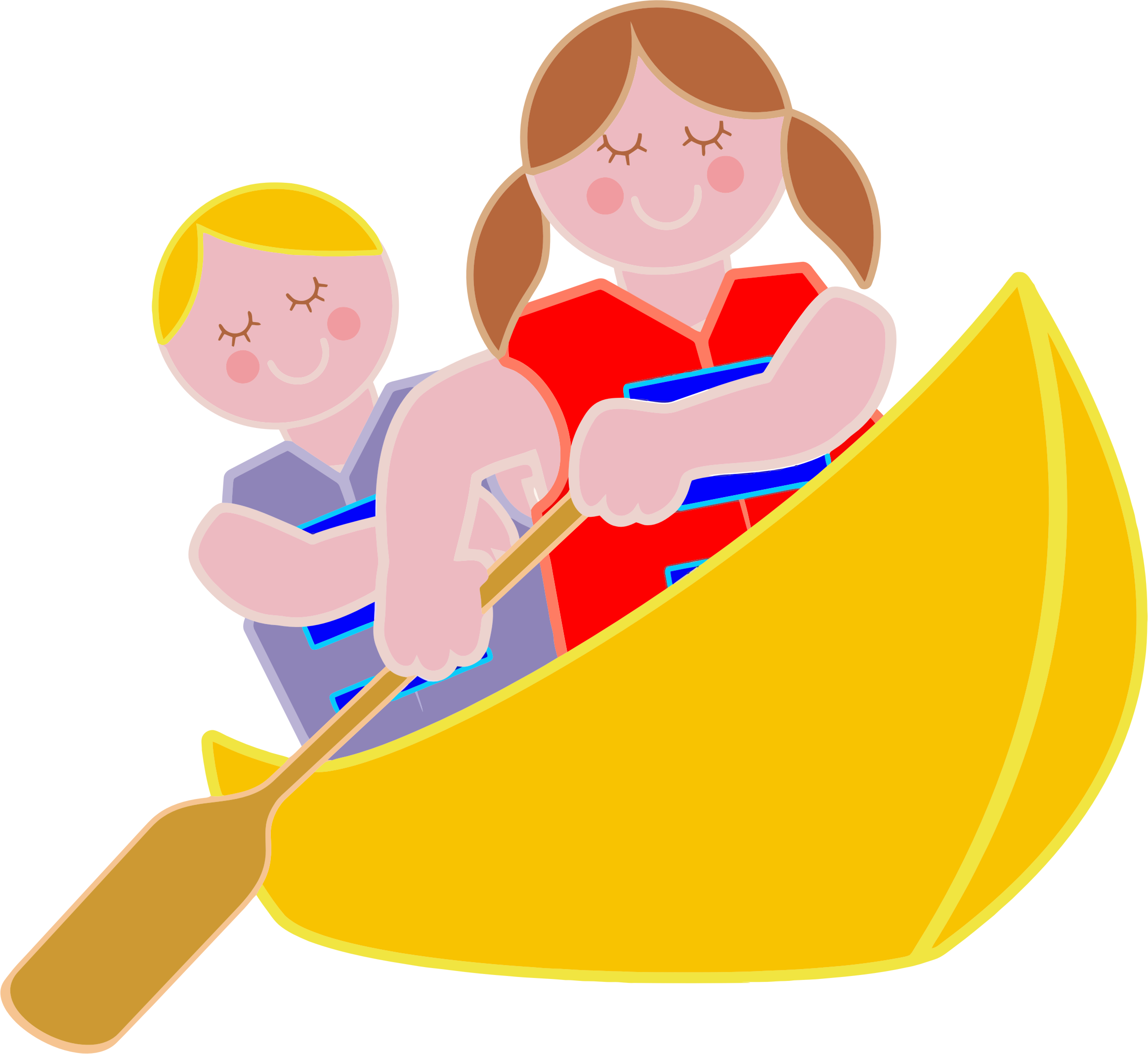 Girl and boy rowing. Kayaking clipart icon
