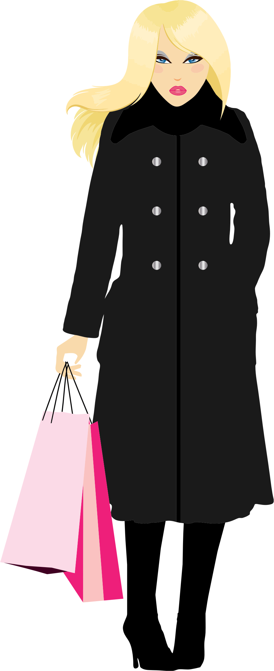 Blonde woman big image. Female clipart shopping