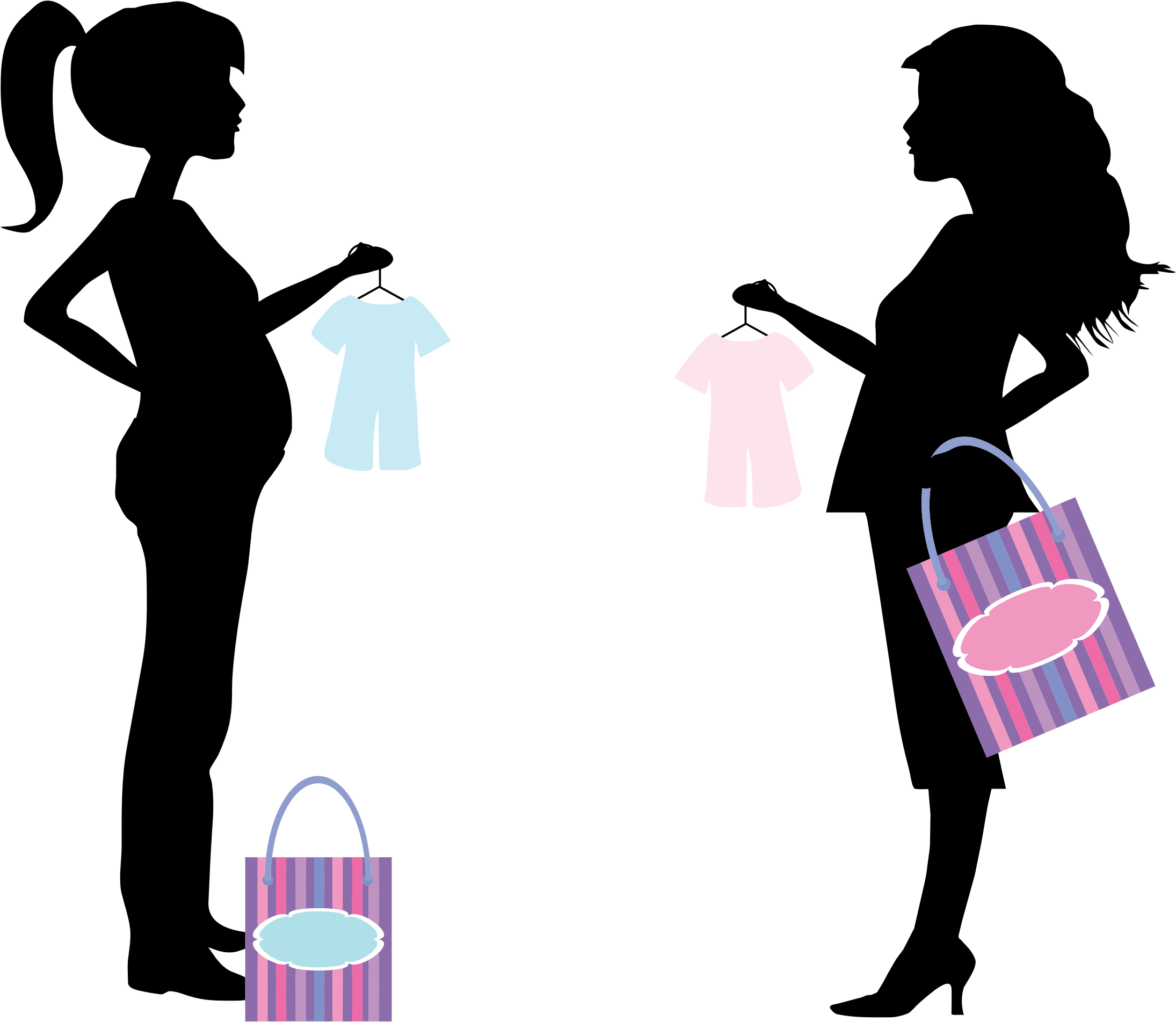 Conversation clipart silhouette. Pregnant women shopping big