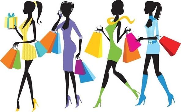 Shopping girls clip art. Fashion clipart shopper