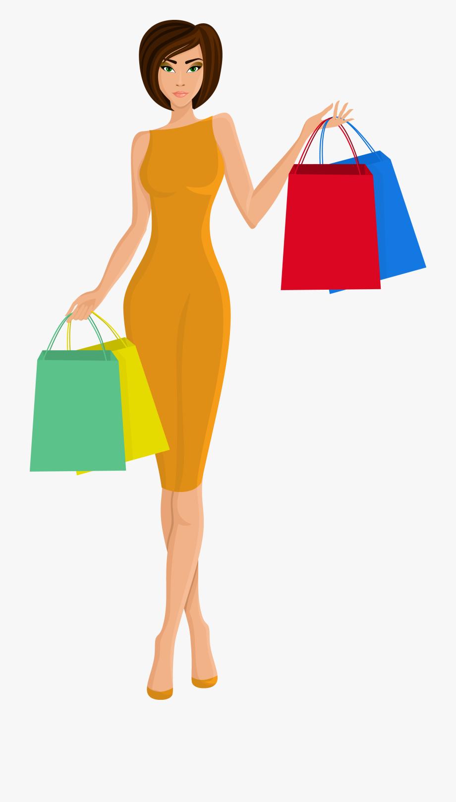 Beautiful shopping bag . Lady clipart professional woman