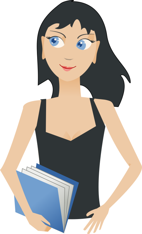 Girls clipart student. Girl with book medium