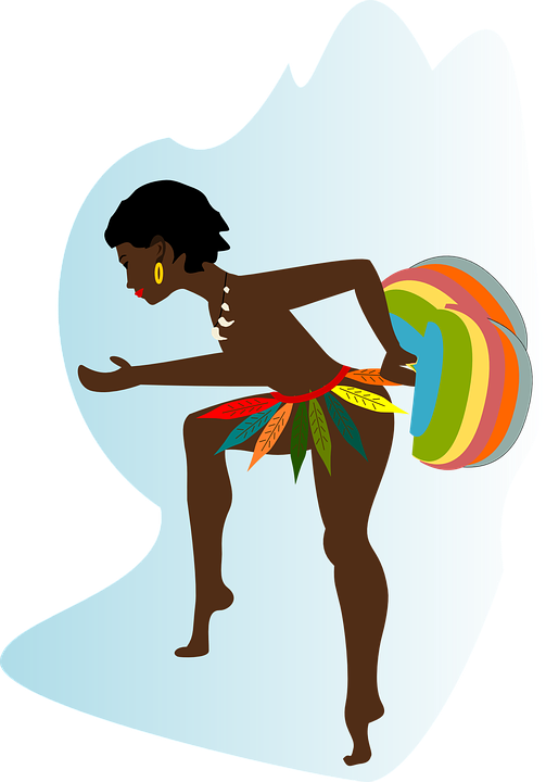 Slavery clipart cartoon drawing. African lady silhouette at