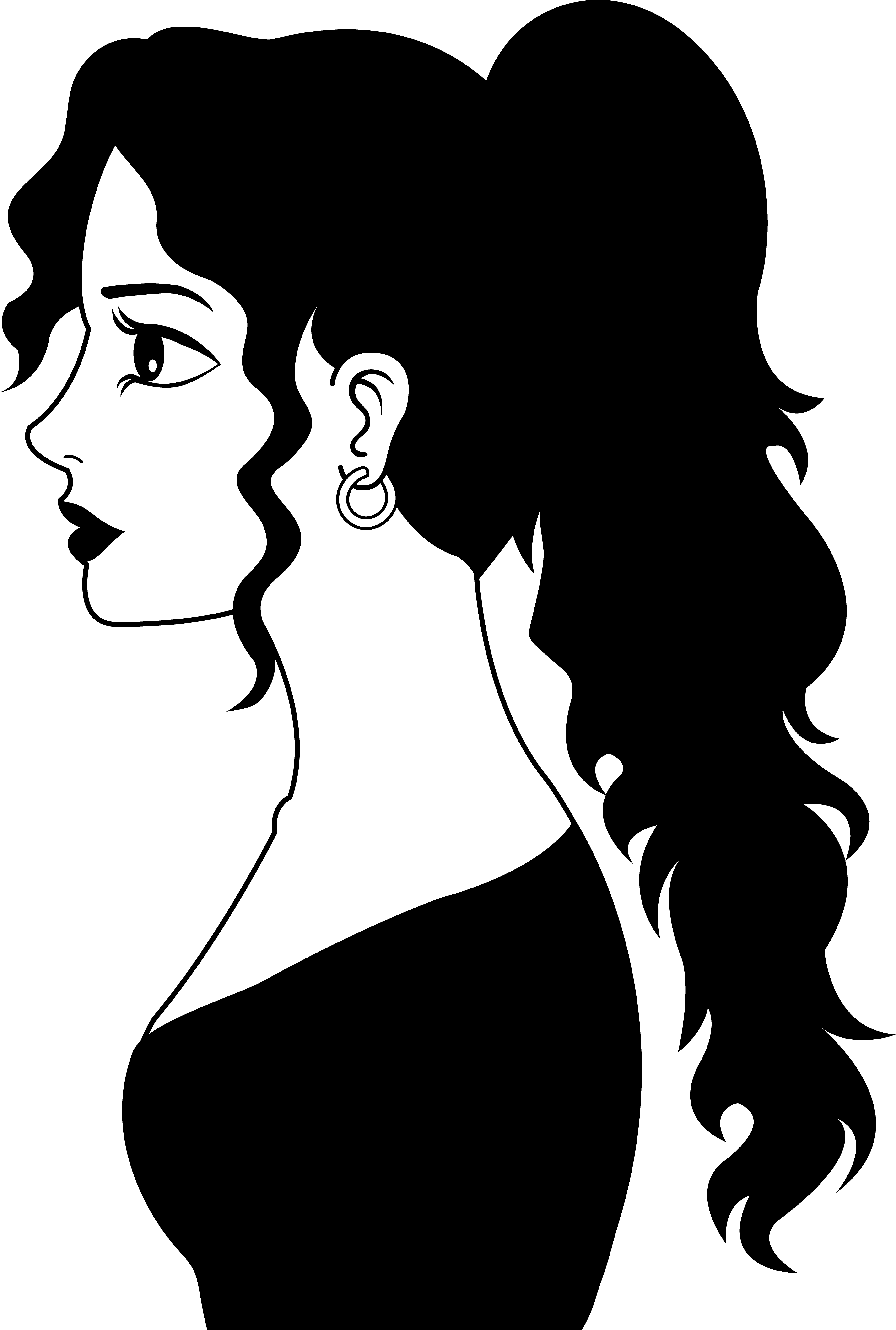 Women pretty free collection. Lady clipart side view