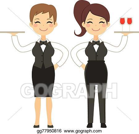 Vector stock woman working. Waitress clipart cute