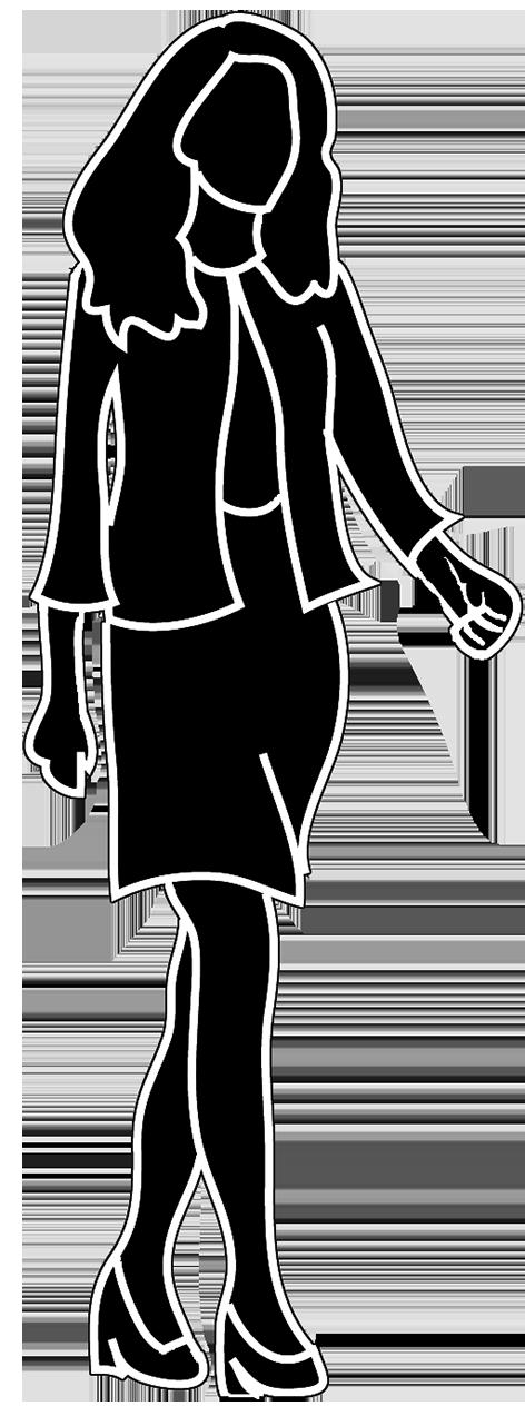 Silhouette walking business woman. Female clipart female human