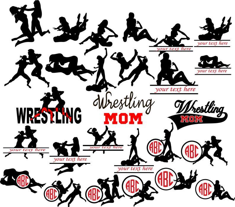 Wrestling mom silhouettes monogram. Wrestlers clipart woman wrestler