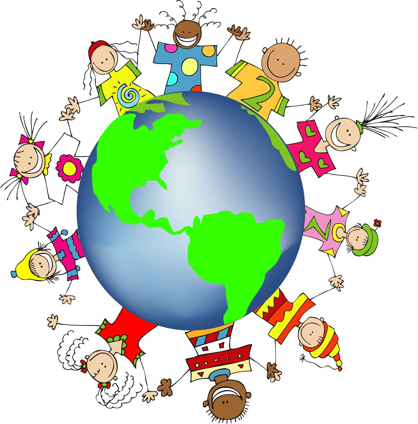 Clipart world. Kids hands friends networks