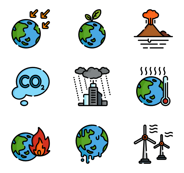 global warming icon. Environment clipart climate change