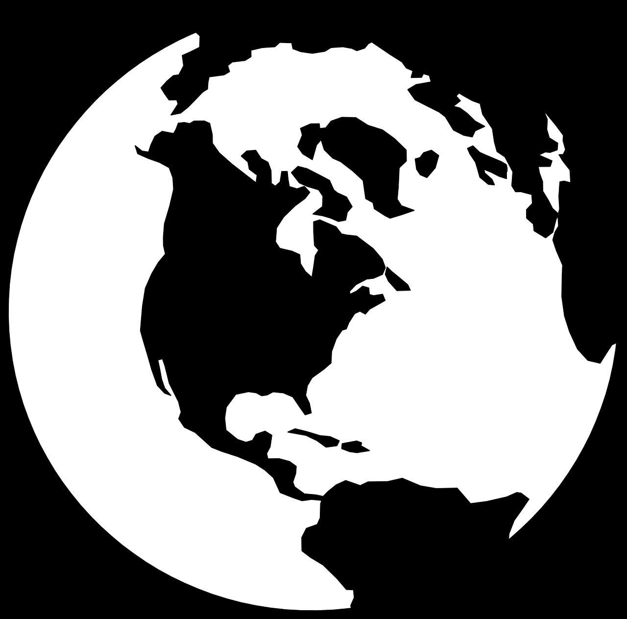 Globe earth black white. Clipart world eath