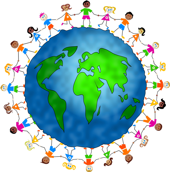 Year and one world. Globe clipart child