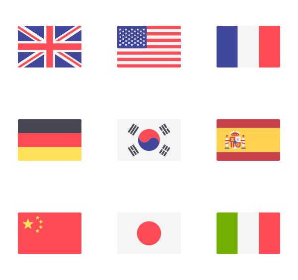 Flag icons free vector. Clipart world flags