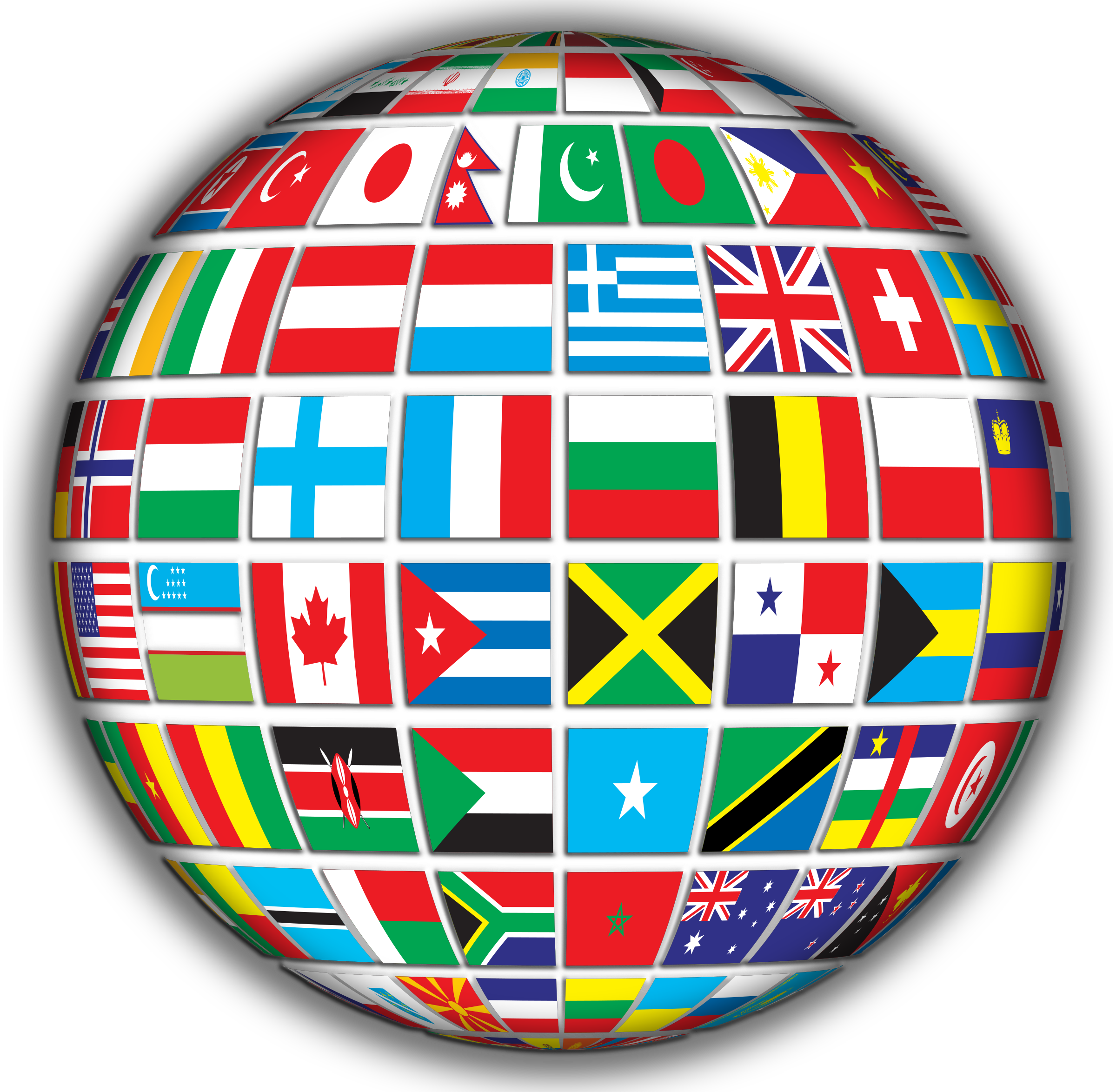 Flags clipart printable. World globe with shading