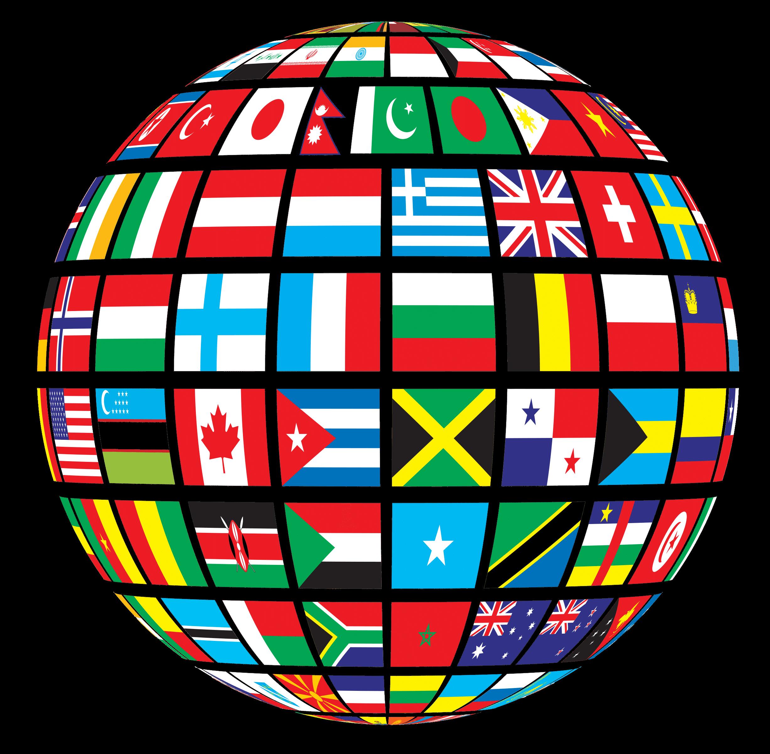 Globe of world flags. Europe clipart landmarks