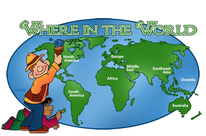 Map of the . Clipart world globe africa