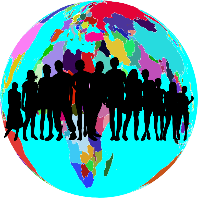 Colorful human family medium. Clipart world globe africa