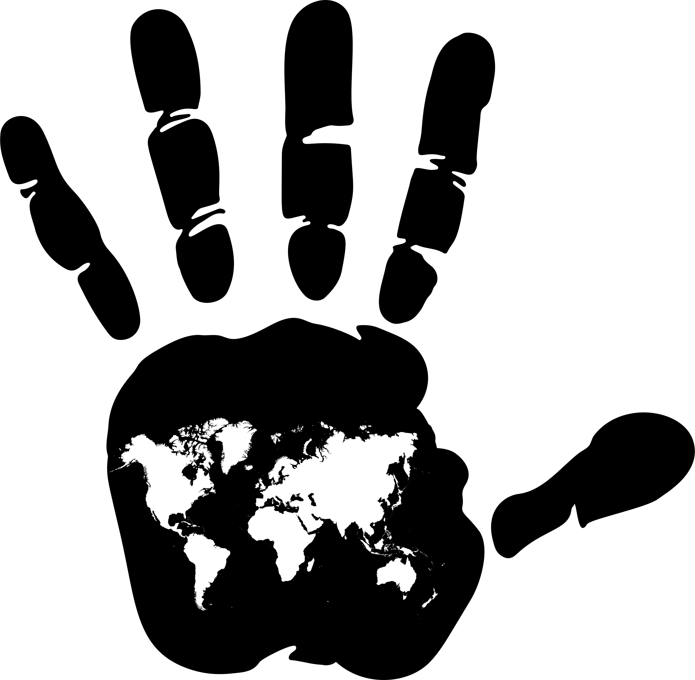 Map handprint big image. Clipart world hand clipart