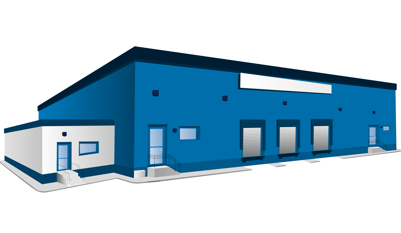 Warehouse logistics building clip. Factories clipart industrial estate