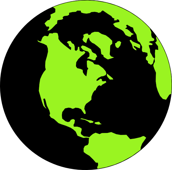 Clipart world natural world. Green and black clip