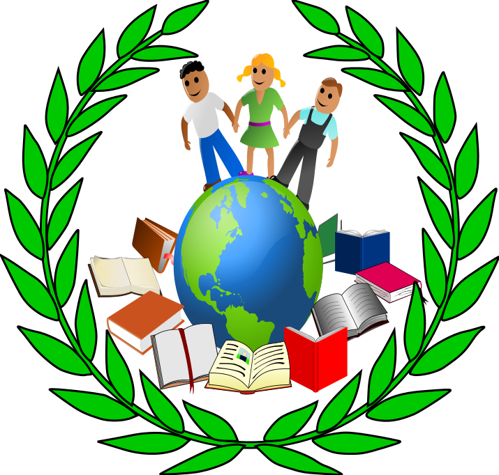 Clipart world world education. Books signs symbols available