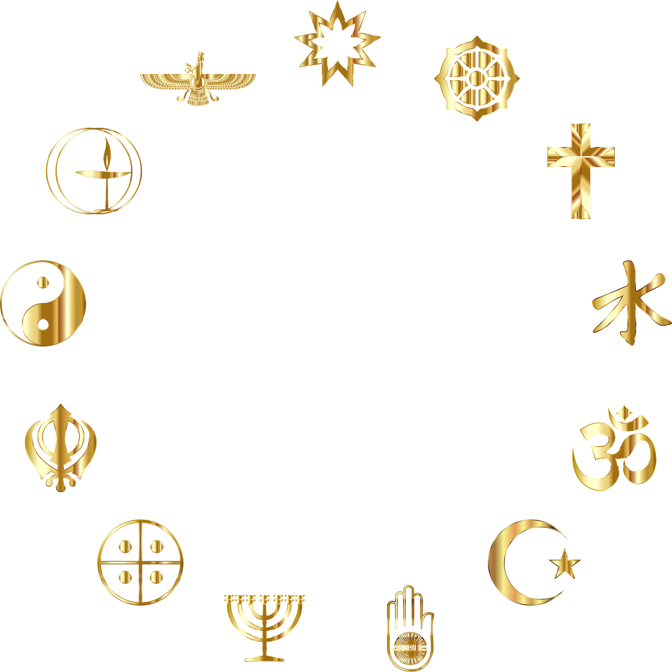 Clipart world world religion. Religious symbols gold big