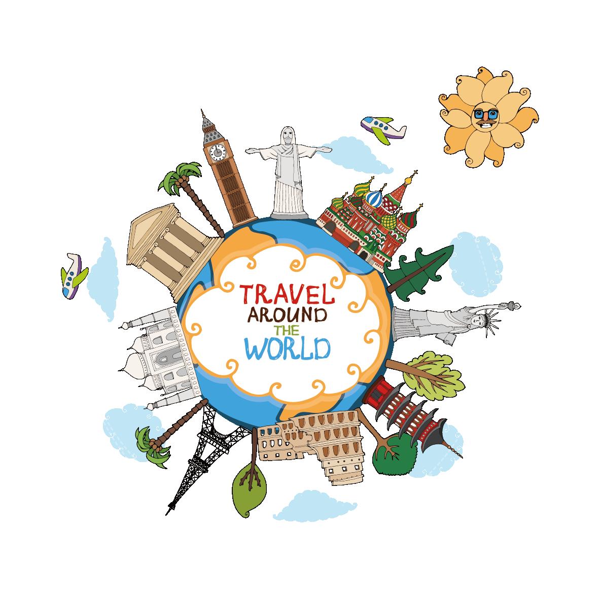 Travel landmark clip art. Clipart world world traveler