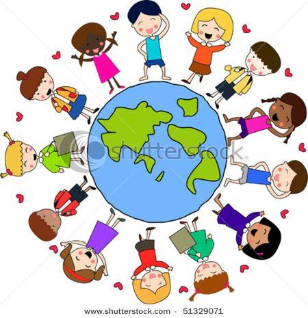 Stock vector multi cultural. Clipart world world unity