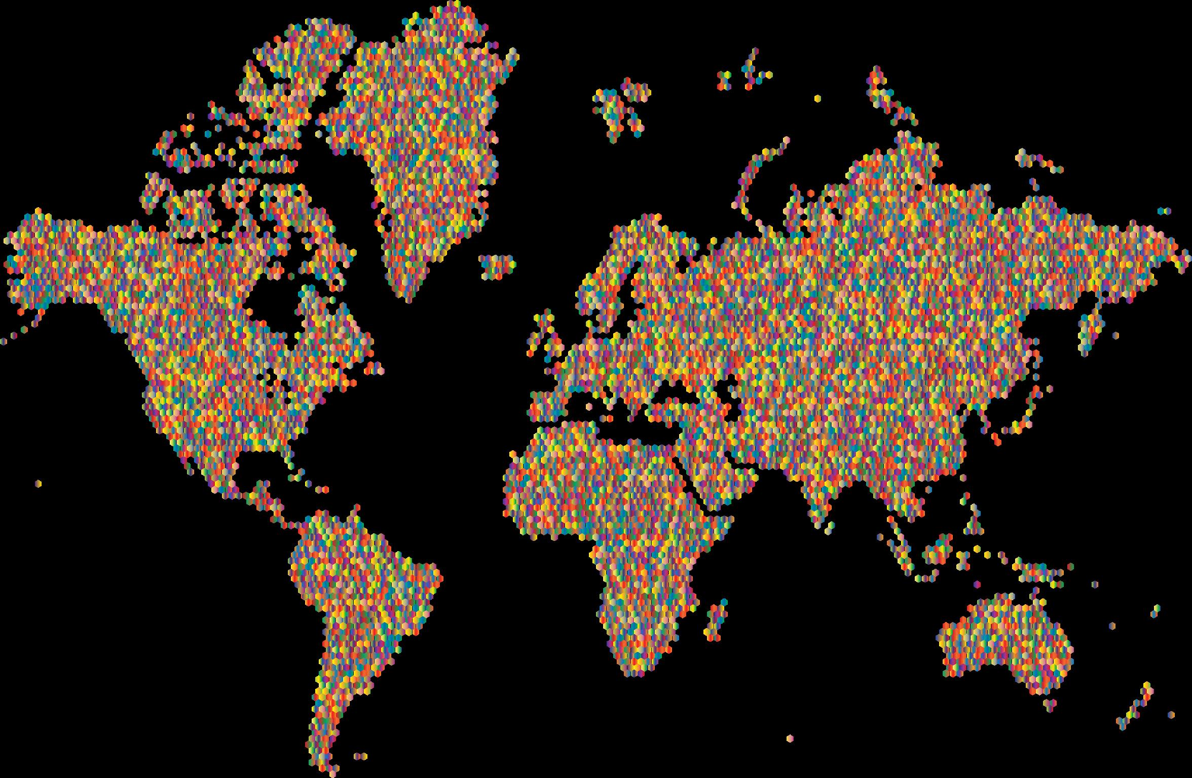 Prismatic hexagonal map no. Clipart world worldwide