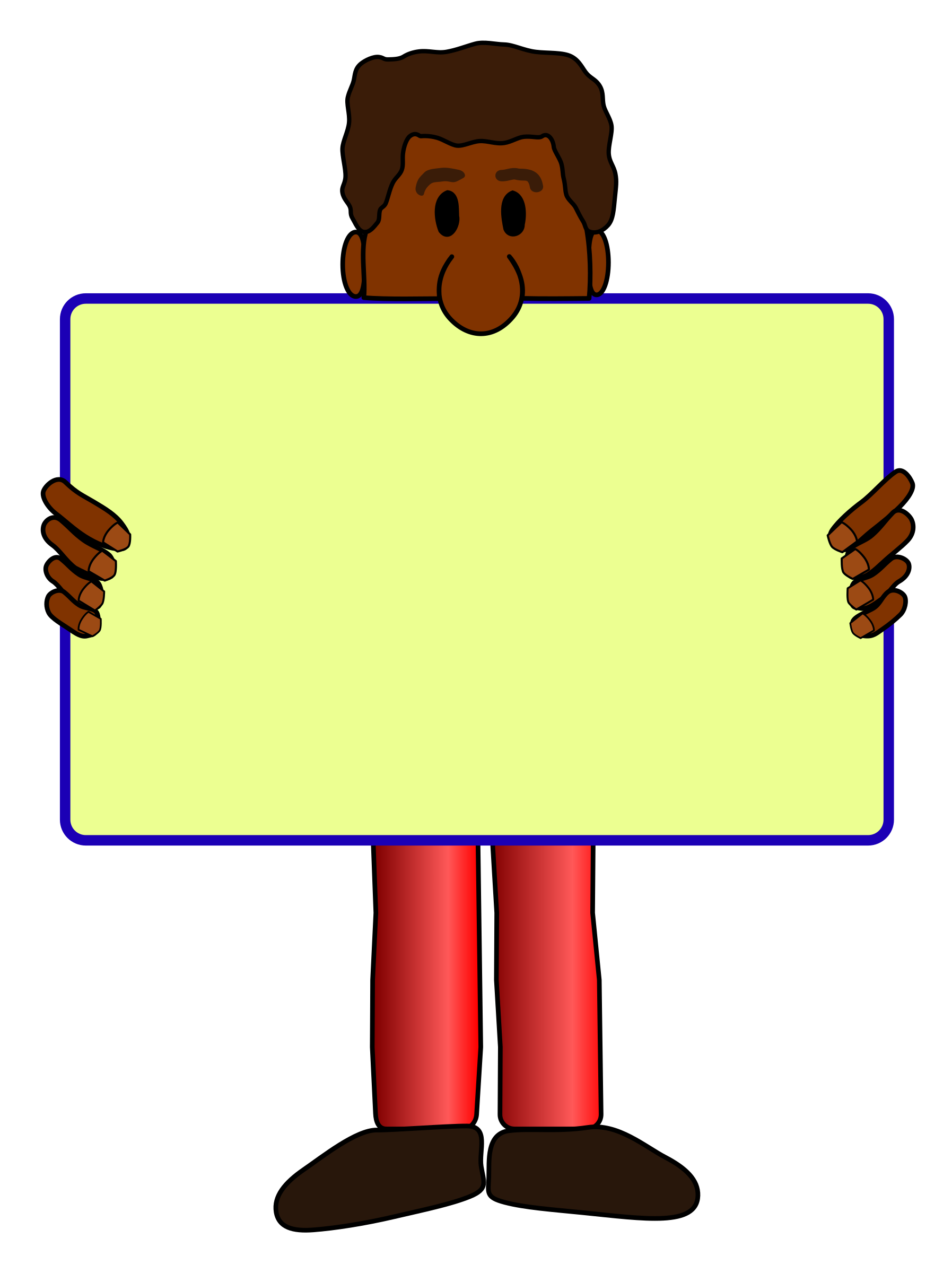 Man with a sign. Shy clipart reserved person