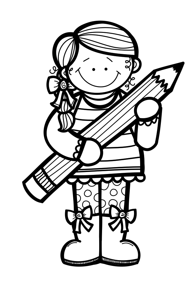 collection of children. Writer clipart black and white