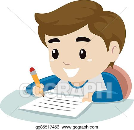 Vector illustration little on. Clipart writing boy